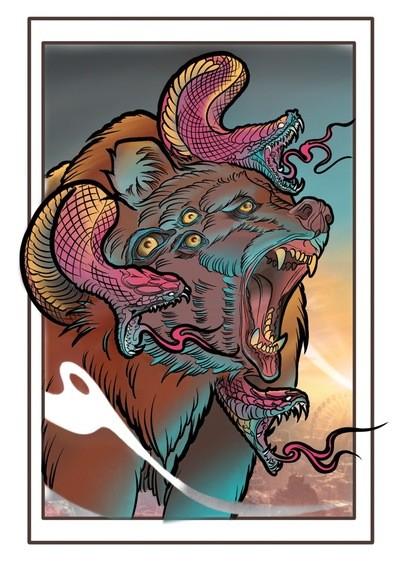 Snake Bear Battle Print A3